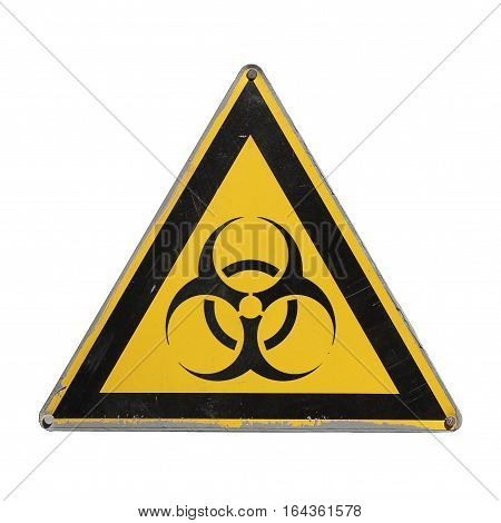 Bio hazard. Yellow triangle. Sign isolated for collage