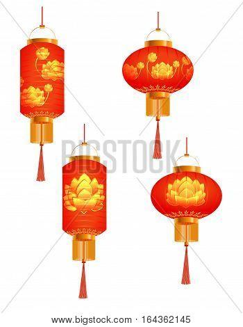 A set of orange Chinese Lanterns. lotus bud. Round and cylindrical shape. Isolated on white background. Vector illustration