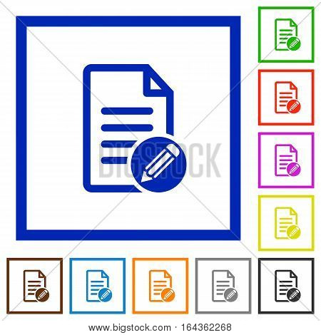 Edit document flat color icons in square frames on white background