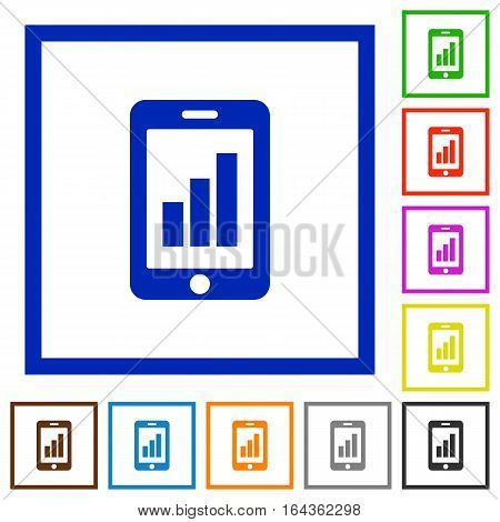 Smartphone signal strength flat color icons in square frames on white background