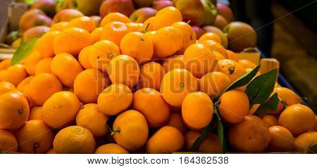 Pile of fresh oranges at a market split croatia