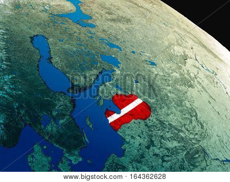 Flag Of Latvia From Space