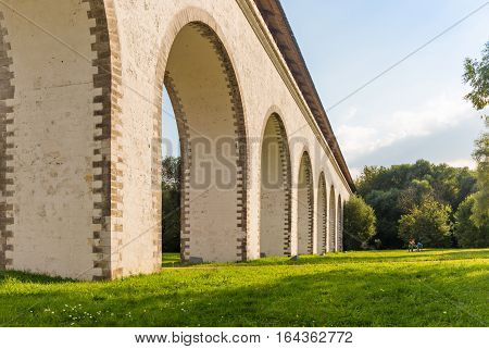 Rostokino Aqueduct in Moscow view from below
