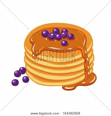 Traditional breakfast food pancakes with maple syrup and blueberries. Cartoon hand drawn vector illustration.