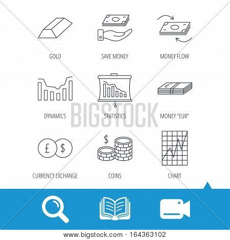 Banking, cash money and statistics icons. Money flow, gold bar and dollar usd linear signs. Dynamics chart, coins and savings icons. Video cam, book and magnifier search icons. Vector