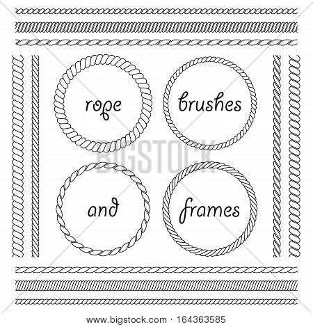 Set of round vector frames from marine rope isolated on white background. Collection of thick and thin brushes to design frames borders and divider simulating a braided rope. The brush included in the file