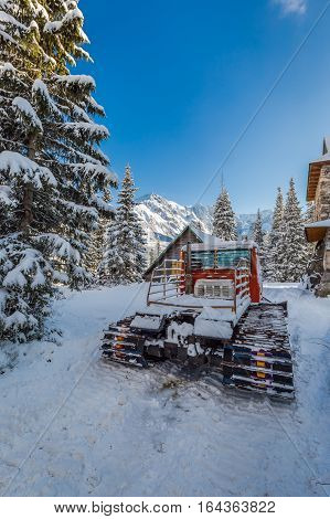 Snow Groomer In Tatra Mountains In Poland