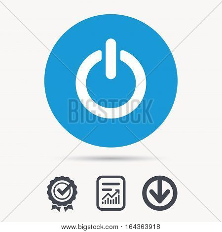 On, off power icon. Energy switch symbol. Achievement check, download and report file signs. Circle button with web icon. Vector