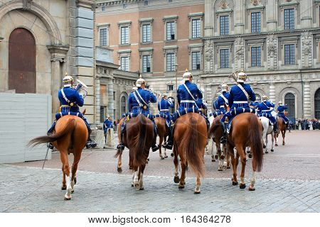 The Royal Guards - changing of the guards at the Royal Castle in Stockholm Sweden