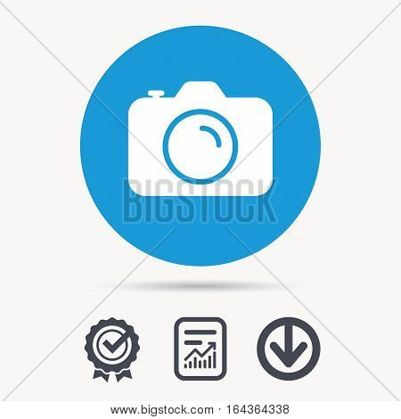 Camera icon. Professional photocamera symbol. Achievement check, download and report file signs. Circle button with web icon. Vector