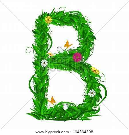 B Green eco letter with leaves and flowers for your design. Flat color style. Spring and summer concept. Vector Illustration