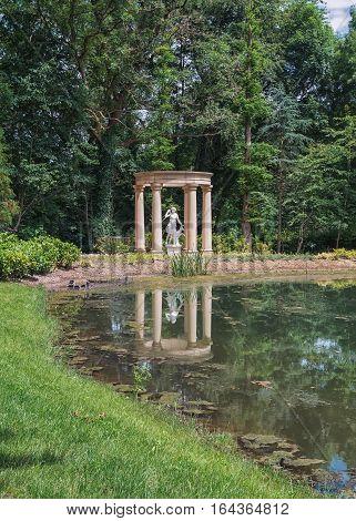 Landgraaf, Netherlands - July 12, 2016: Artemis Sculpture in the garden of English style Mondo Verde Park Netherlands.