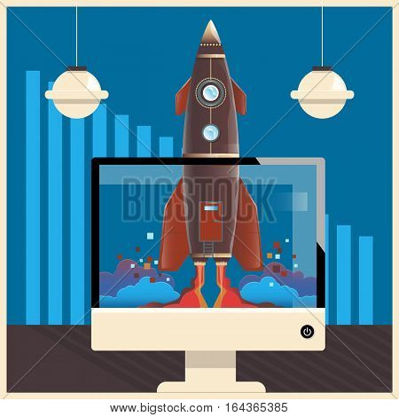 Start Up.Rocket in computer.Concept business vector illustration