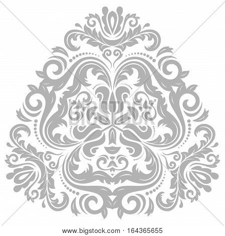Oriental vector triangular silver pattern with arabesques and floral elements. Traditional classic ornament. Vintage pattern with arabesques