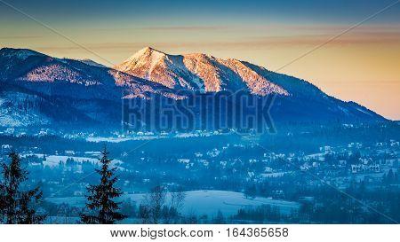 Sunrise In Zakopane With Illuminated Peak In Winter, Tatra Mountains