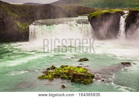 Beautiful Godafoss Waterfall With Blue Water In Summer