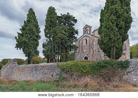 Image of the Romanesque church of Saint Pierre in Larnas from the twelfth century France.