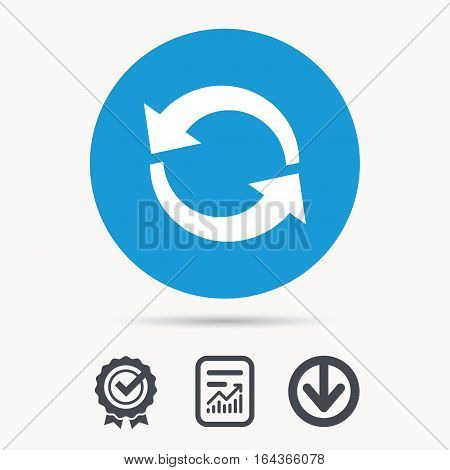 Update icon. Refresh or repeat symbol. Achievement check, download and report file signs. Circle button with web icon. Vector
