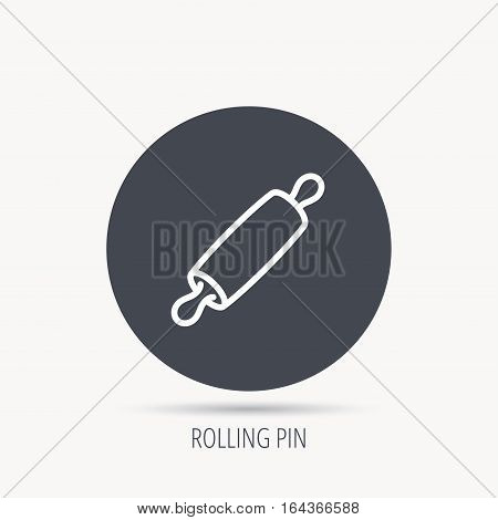 Rolling pin icon. Kitchen baker roller sign. Round web button with flat icon. Vector