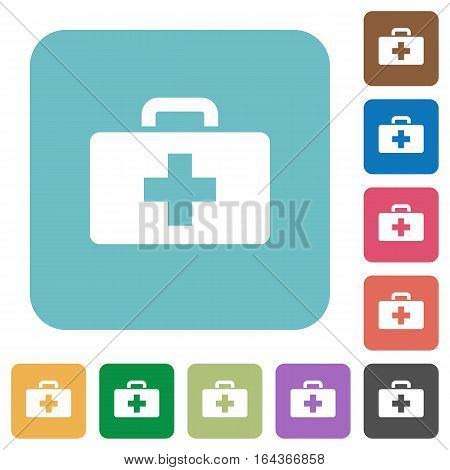 First aid kit white flat icons on color rounded square backgrounds