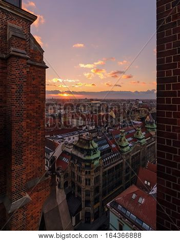 View on the Wroclaw old town during sunset from