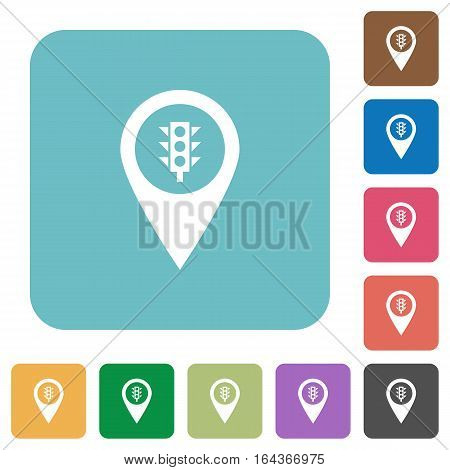 Traffic control GPS map location white flat icons on color rounded square backgrounds