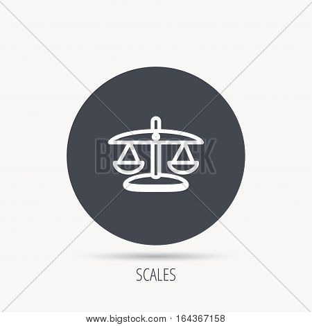Scales of Justice icon. Law and judge sign. Measurement tool symbol. Round web button with flat icon. Vector