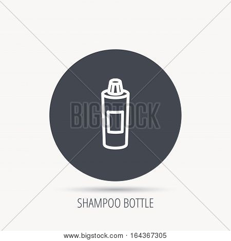 Shampoo bottle icon. Liquid soap sign. Round web button with flat icon. Vector
