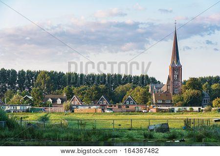 View on a church in Zaandam from the hamlet Haaldersbroek.