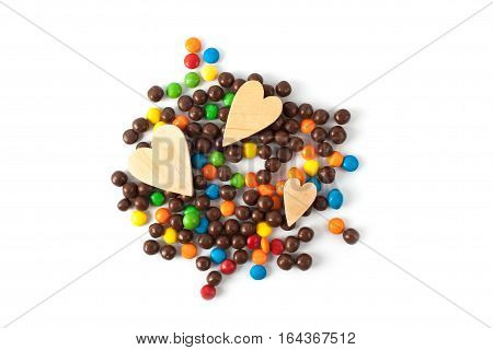 Multi color candy isolated on white background. Sweet