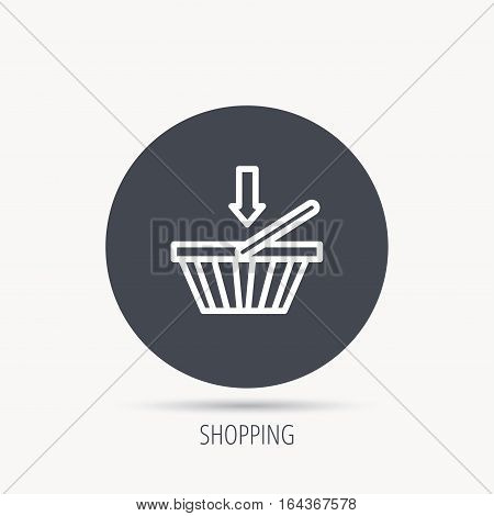Shopping cart icon. Online buying sign. Round web button with flat icon. Vector