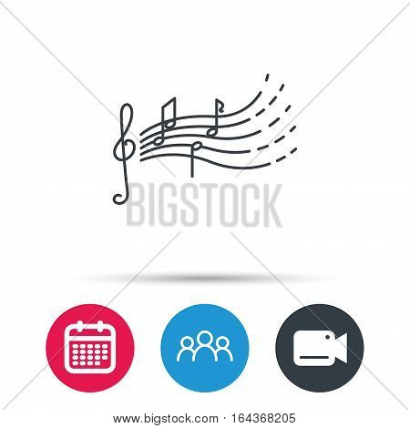 Songs for kids icon. Musical notes, melody sign. G-clef symbol. Group of people, video cam and calendar icons. Vector