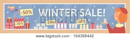 winter sale banner with woman and showcase
