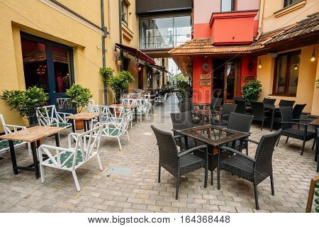 Tbilisi, Georgia - May 19, 2016: Cozy Outdoor Cafes In The Shardeni Street Of Old Town Tbilisi, Georgia.