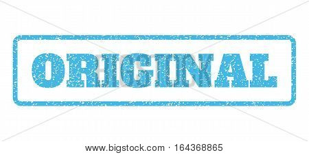 Light Blue rubber seal stamp with Original text. Vector message inside rounded rectangular frame. Grunge design and dirty texture for watermark labels. Horisontal sign on a white background.