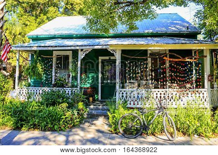 Fernandina Beach City, FL, USA - September 7: Brightly adorned house on S 3rd Street in the historic district of Fernandina Beach City in Florida