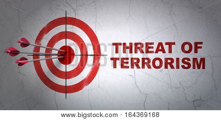 Success political concept: arrows hitting the center of target, Red Threat Of Terrorism on wall background, 3D rendering