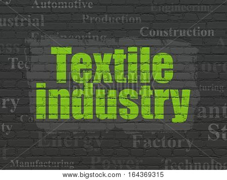 Industry concept: Painted green text Textile Industry on Black Brick wall background with  Tag Cloud