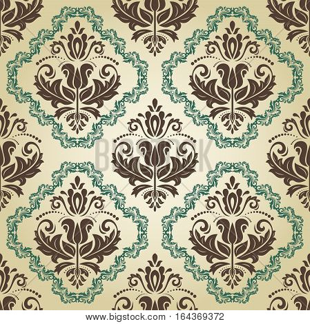 Seamless classic vector brown and green pattern. Traditional orient ornament. Classic vintage background