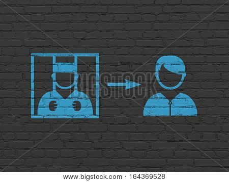 Law concept: Painted blue Criminal Freed icon on Black Brick wall background