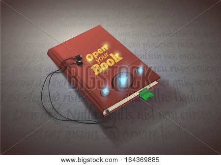 Concept of audio book. Book with headphones, vector illustration EPS10