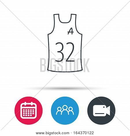 Team assistant icon. Basketball shirt sign. Sport clothing symbol. Group of people, video cam and calendar icons. Vector