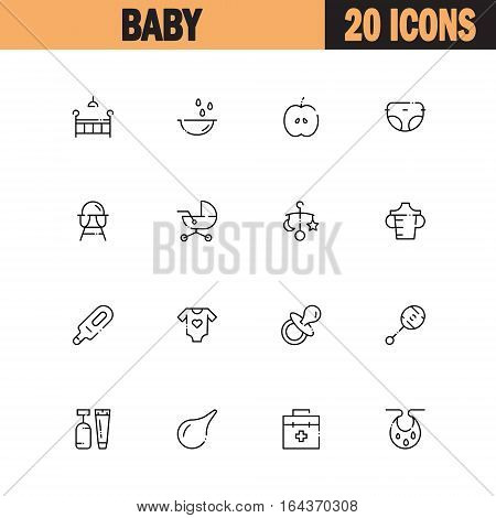Baby flat icon set. Collection of high quality outline symbols of baby stuff for web design, mobile app. Vector thin line icons or logo ofcradle, stroller, diapers, rattle, nipple, etc.