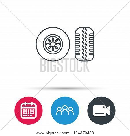 Tire tread icon. Car wheel sign. Group of people, video cam and calendar icons. Vector