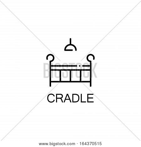 Cradle flat icon. Single high quality outline symbol of baby stuff for web design or mobile app. Thin line signs of cradle for design logo, visit card, etc. Outline pictogram of cradle