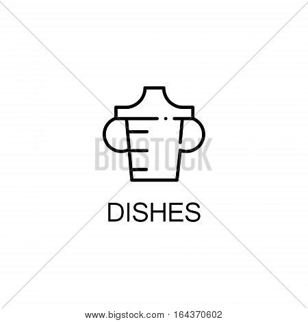 Dishes flat icon. Single high quality outline symbol of baby stuff for web design or mobile app. Thin line signs of dishes for design logo, visit card, etc. Outline pictogram of dishes