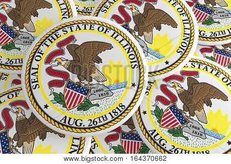 US State Buttons: Pile of Illinois Flag Badges 3d illustration