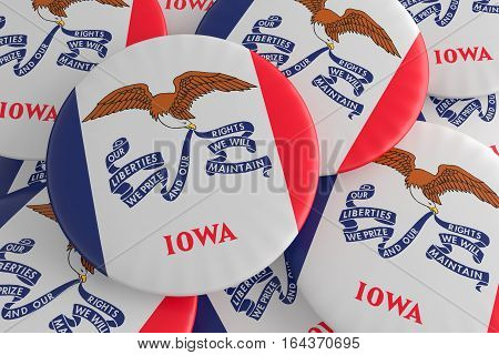 US State Buttons: Pile of Iowa Flag Badges 3d illustration