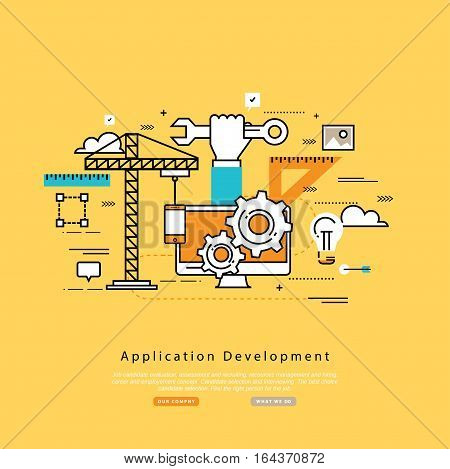 Application development flat line business vector illustration design banner, software API prototyping and testing background. Smartphone interface building process, website coding concept