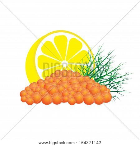 Red salmon caviar with lemon and dill vector illustration isolated on white background